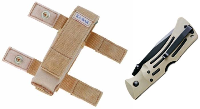 Die Messerscheide samt Messer, diesmal eingeklappt (beachte den Clip und den Lock Back hinten am Griff)