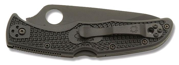 Spyderco Endura 4 zusammengeklappt (wenn nötig kann der Stahl-Clip auch auf der linken Seite befestigt werden)