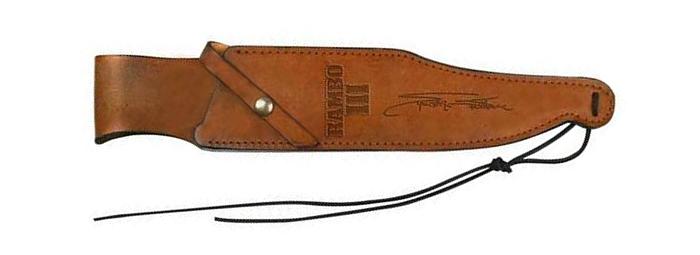 Die braune Leder-Scheide mit Unterschrift von Sylvester Stallone