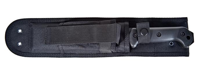 Das taktisches Feldmesser KA-BAR BK5 Becker Magnum Camp fest in seiner Messerscheide verstaut