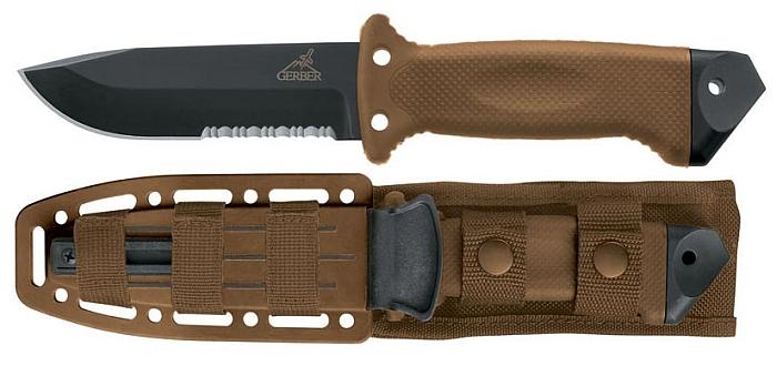Gerber LMF II Infantry Messer, Coyote Brown Ausführung (die Scheide ist ebenfalls braun)